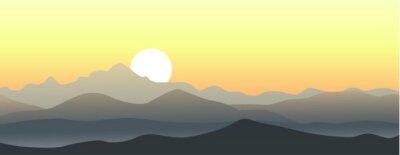 Adesivo Bel tramonto in montagna. Vettore paesaggio orizzontale.