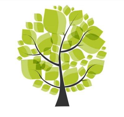 Adesivo Bella albero verde su uno sfondo bianco illustrazione vettoriale.