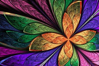 Adesivo Bella fiore multicolore frattale o farfalla in gl macchiato