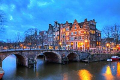 Adesivo Bella lunga esposizione HDR immagine della Brouwersgracht Amsterdam, nei Paesi Bassi, un patrimonio mondiale dell'UNESCO.