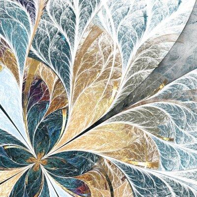 Adesivo Bella motivo floreale in stile finestra in vetro colorato. tavolozza di colore giallo e verde.