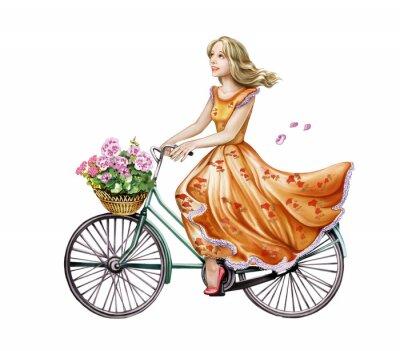 Adesivo bella ragazza in un vestito in bicicletta