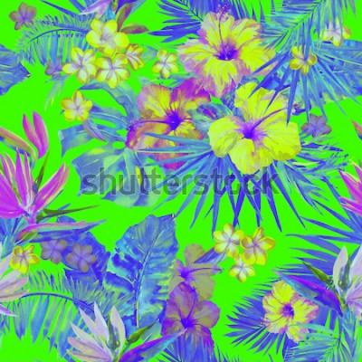 Adesivo Bellissimo motivo tropicale con pittura di fiori di ibisco e uccello del paradiso. Illustrazione tropicale dipinta sveglia con le foglie di plumeria, di foglia di palma e della banana. Neon verde di c