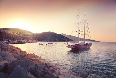 Adesivo bellissimo paesaggio marino con grandi barche a vela