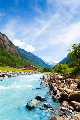 Adesivo Bellissimo paesaggio svizzero con flusso del fiume