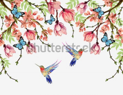 Adesivo Bello fondo floreale del modello di estate di vettore con i fiori giapponesi tropicali, glicine, magnolia, farfalle, magnolia. Perfetto per sfondi, sfondi di pagine Web, trame di superficie, tessuti.