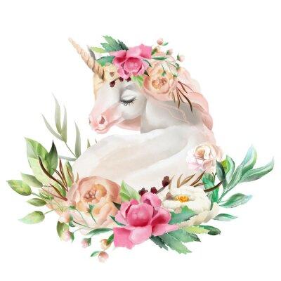 Adesivo Bello, sveglio, acquerello che sogna l'unicorno con i fiori, mazzo floreale isolato su bianco