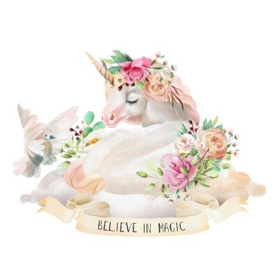 Adesivo Bello, sveglio, acquerello che sogna l'unicorno sulla nuvola con i fiori, il mazzo floreale, il piccione ed il nastro con la citazione isolata su bianco