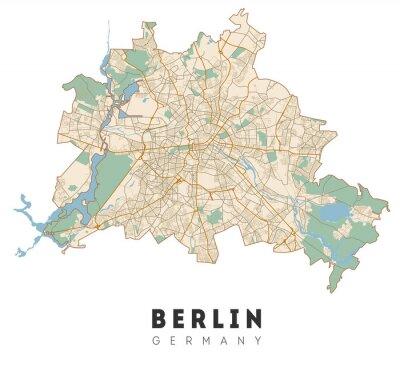 Adesivo Berlin map. Detailed poster city map Berlin. Germany