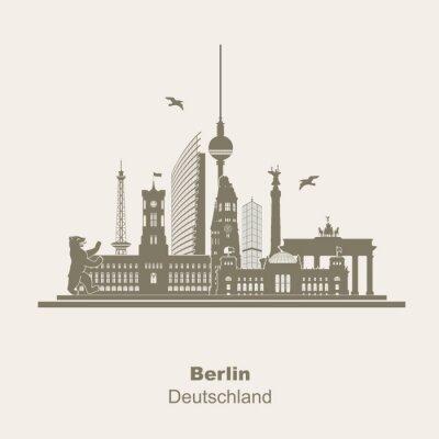 Adesivo Berlino Silhouette Logo Umriss Schattenriss Fernseturm Funkturm Berliner Bär, giro turistico, Brandenburger Tor Rotes Rathaus Potzdamer Platz Siegessäule Gedächtniskirche Reichstag