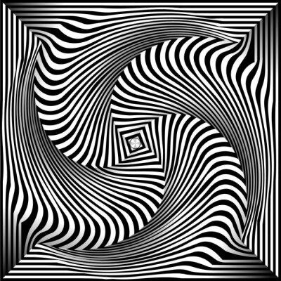 Adesivo Bianco e nero Opt Art Background