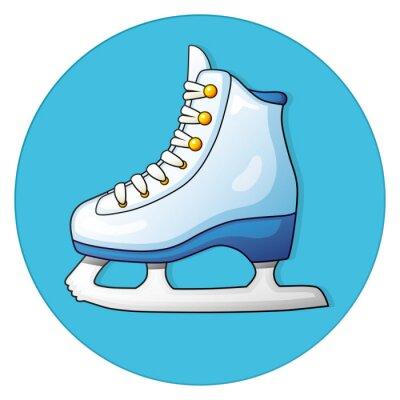 Adesivo Bianco pattinare sul ghiaccio su sfondo blu, icona rotonda.