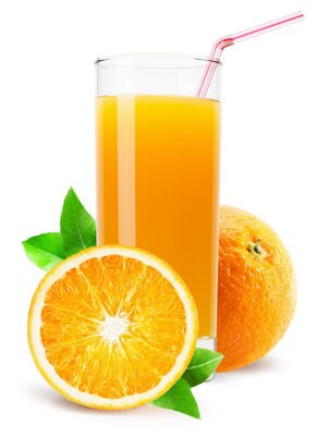 Adesivo bicchiere di succo d'arancia isolato su sfondo bianco