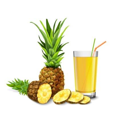 Adesivo Bicchiere di succo di ananas