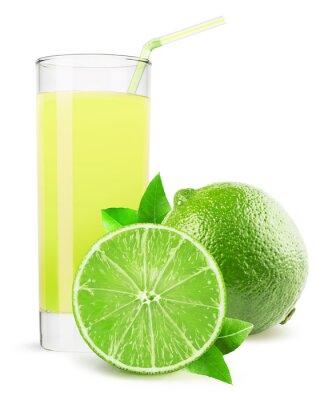 Adesivo bicchiere di succo di lime isolato su sfondo bianco