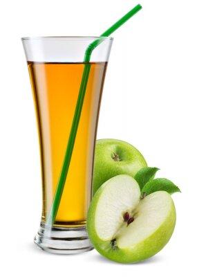 Adesivo Bicchiere di succo di mela con frutta isolato su bianco.