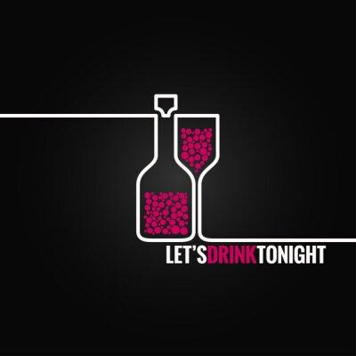 Adesivo bicchiere di vino bottiglia linea di design sfondo eps 8