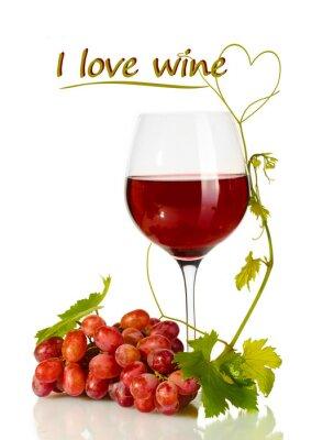 Adesivo Bicchiere di vino e uva matura con il vino amo testo isolato