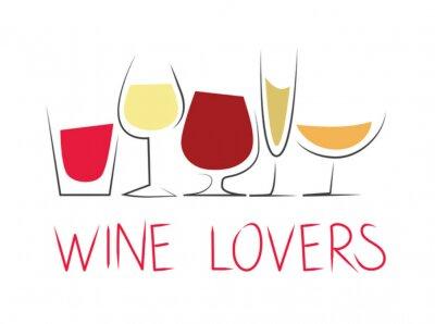 Adesivo Bicchieri di vino Differenti con dicitura
