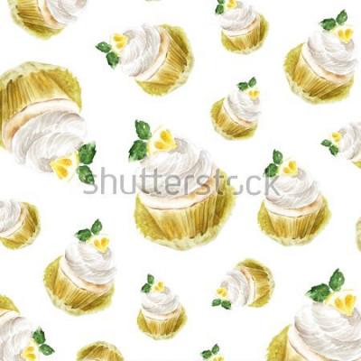 Adesivo Bigné del limone con la menta crema, dessert del muffin dell'acquerello. stampa artistica, schizzo di moda. panetteria torta dolce frutta citrus.pattern