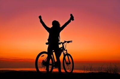 Adesivo Biker Girl al tramonto vicino lago
