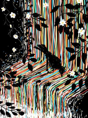 Adesivo Bird and waterfall