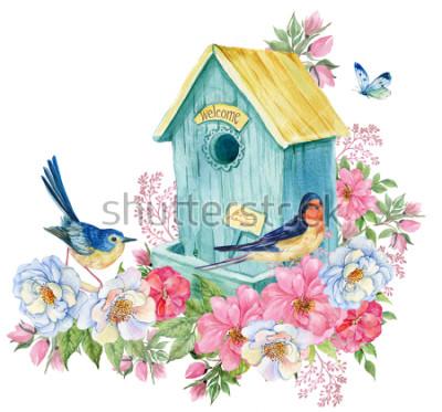 Adesivo Bird house, rondine e uccello blu, farfalla. Illustrazione dell'acquerello di carta primavera