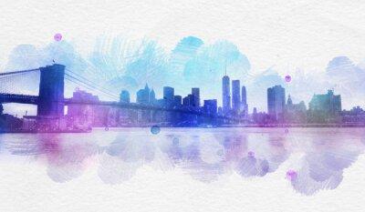Adesivo Blank New York acquerello cartolina