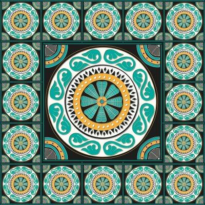 Adesivo Blu disegno delle mattonelle romana