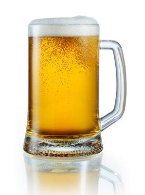 Adesivo Boccale di birra chiara isolato su sfondo bianco. Con il clipping pa