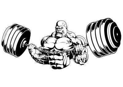 Adesivo Bodybuilder flessione pesante bilanciere, illustrazione, logo, inchiostro, bianco e nero, contorno, isolato su un bianco