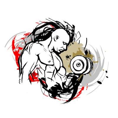 Adesivo bodybuilder illustrazione