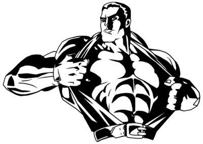 Adesivo bodybuilder muscolare strappa la camicia