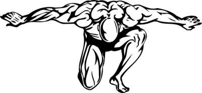 Adesivo Bodybuilding e Powerlifting - illustrazione vettoriale.