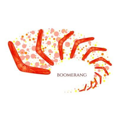 Adesivo Boomerang in movimento. Imitazione di acquerello. Boomerang come simbolo dell'Australia. illustrazione vettoriale isolato.