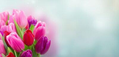 Adesivo bouquet di fiori di tulipano rosa e viola