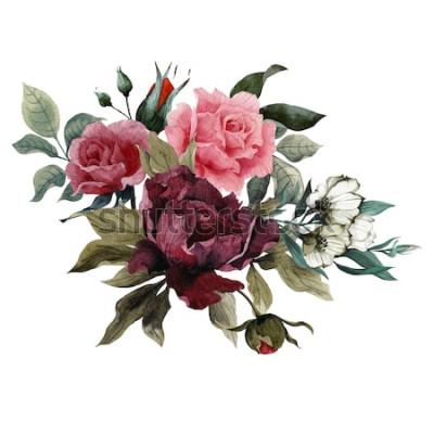 Adesivo Bouquet di rose, peonie ed eustoma, acquerello, può essere usato come biglietto di auguri, biglietto d'invito per matrimonio, compleanno e altre vacanze e sfondo estivo
