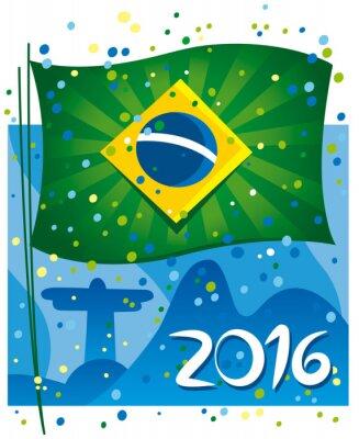 Adesivo Brasile bandiera celebrare il nuovo anno in città meravigliosa