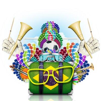Adesivo Brasile, il campionato mondiale di calcio, festival e un carnevale