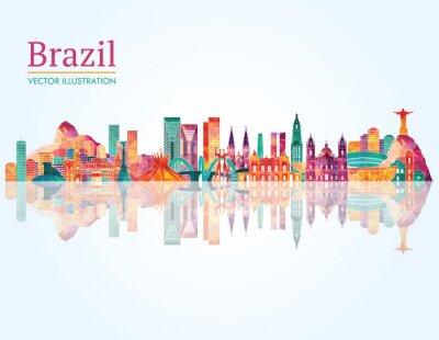 Adesivo Brasile Landmark orizzonte. illustrazione di vettore