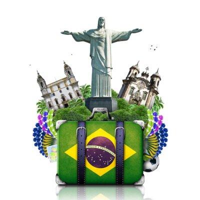 Adesivo Brasile, punti di riferimento Brasile, viaggi e retrò valigia