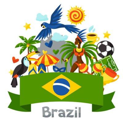 Adesivo Brasile sfondo con oggetti stilizzati e simboli culturali