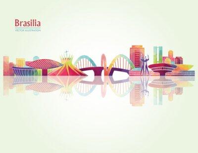 Adesivo Brasilia skylines dettagliate. illustrazione vettoriale