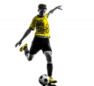 Adesivo brazilian giocatore di calcio calcio giovane uomo calci silhouette