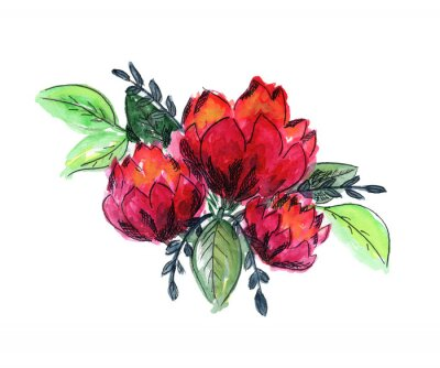 Adesivo Bright watercolor red and green floral bouquet. Color painting composition with ink pen outline pink roses or peonies flowers and fresh leaves for invitation, wedding, greeting cards design, sticker