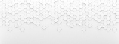 Adesivo Bright white abstract hexagon wallpaper or background - 3d render