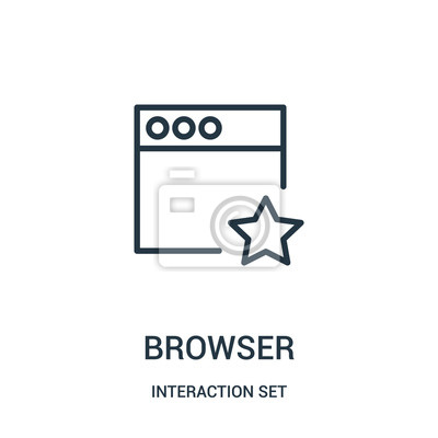 Adesivo browser icon vector from interaction set collection. Thin line browser outline icon vector illustration.