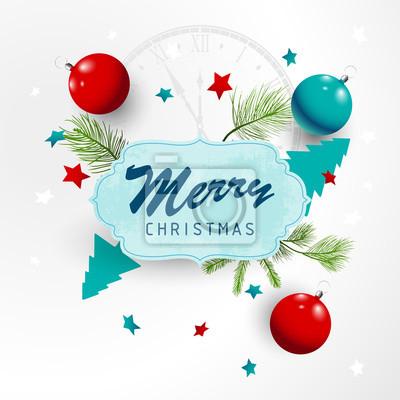 Adesivi Buon Natale.Adesivo Buon Natale Saluto Beckground Con Nastri Natale Ornamenti Abete