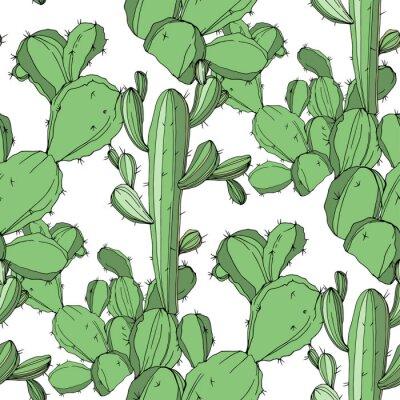 Adesivo Cactus vettoriale Arte verde dell'inchiostro inciso Motivo di sfondo senza soluzione di continuità. Trama di stampa di carta da parati in tessuto.