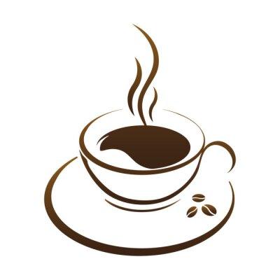 Adesivo caffè caldo tazza vettore